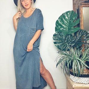 Boho Blue Knit Maxi Split Oversized Dress